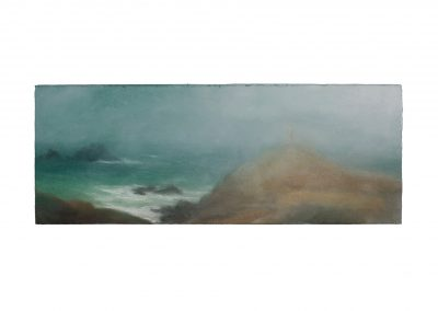 Swamped, Cape Cornwall No.3, 19.5cm x 51cm, Pastel on Paper.