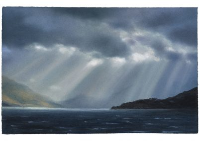 Advancing Light Crepuscular Rays, Series No 3, 38cm x 58.5cm, Pastel on Paper, 2019.