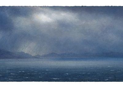 Before the Deluge a view of Raasay and Rona, 17cm x 35cm, Pastel on Paper, 2018.
