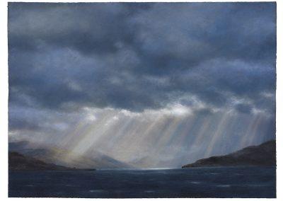 Cloud Burst Crepuscular Rays, Series No 12, 79cm x 107.5cm, Pastel on Paper, 2019.