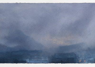Downpoor, Kitchen Window Series No 15, 2106, 23cm x 69cm, Pastel on Paper, 2016.