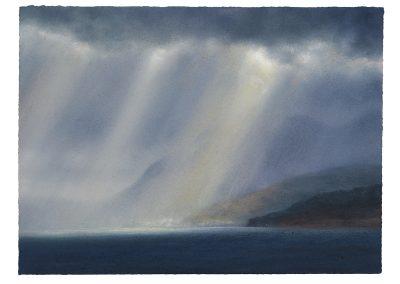 Enveloped Crepuscular Rays, Series No 8, 42.5cm x 57.5cm, Pastel on Paper, 2019.