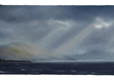 Flickering Crepuscular Rays, Series No 4, 23cm x 54cm, Pastel on Paper, 2019.