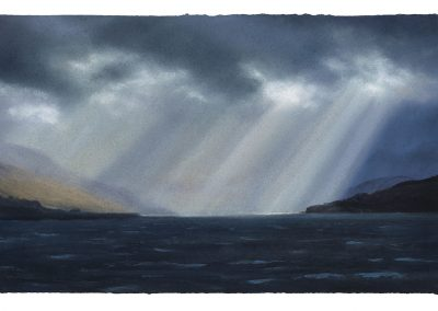 Flooded Crepuscular Rays, Series No 14, 32cm x 52cm, Pastel on Paper, 2019.