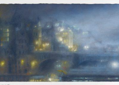Haar Descending, 63cm x 116.5 cm, Low Cloud with a Hint of Rain, Kitchen Window Series No 21, 23.5cmx 70cm, Pastel on Paper, 2016.