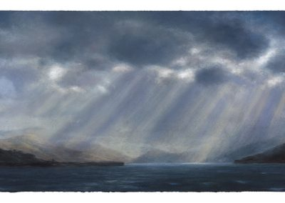 Light and Air Crepuscular Rays series no 15, 84cm x 164.5 cm, Pastel on Paper, 2019.