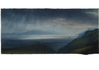 Incoming Squall, The Sound of Raasay, 25.5cm x 55cm, Pastel on Paper, 2018.