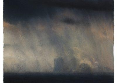 Downpoor, 29.5cm x 33cm, Pastel on Paper, 2017.