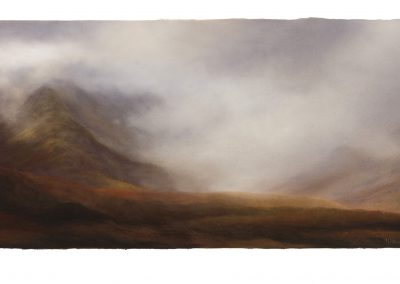 Ominous, a Hike Through Rannoch Moor Part 18, 67cmx 163.5cm, Pastel on Paper, 2017.