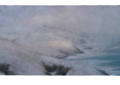 Snowstorm, A View from Pendeen, 78.5cm x 165cm, Pastel on Paper.