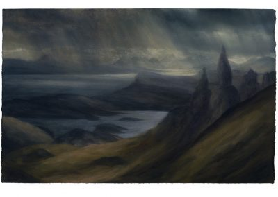 Northern Light The Sound of Raasay, 80cm x 125cm, Pastel on Paper, 2107.