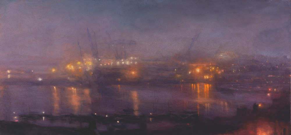 Matthew Draper, Pastel on Paper, Nocturne with A Poluted Light (PartIV). 785mm x 1680mm. £10,500