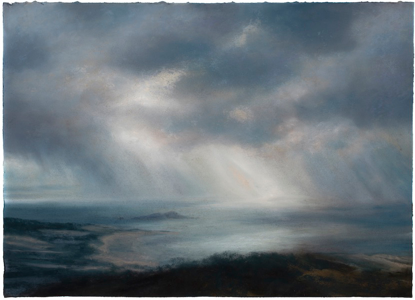 Matthew Draper, Rays and Rain Part III Fidra From The Law Pastel on Paper 2019