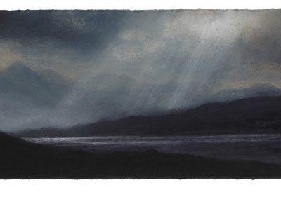 Passing Rays Near Achiltibuie, 15cm x 42cm, Pastel on Paper, 2017.