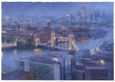 Saturate Nocturne East from the Shard, 112cm x 161cm, Pastel on Paper.