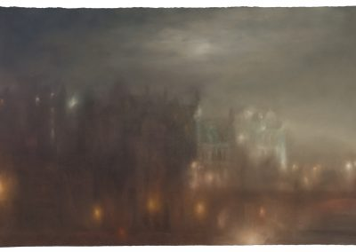 Moonlight Auld Reekie, 2 of 3, Pastel on Paper.