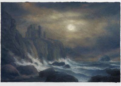 Moonlit, A View of Tantallon Castle with The Bass Rock (Homage to Alexander Naysmith Part I), 42cm x 63CM, Pastel on Paper.