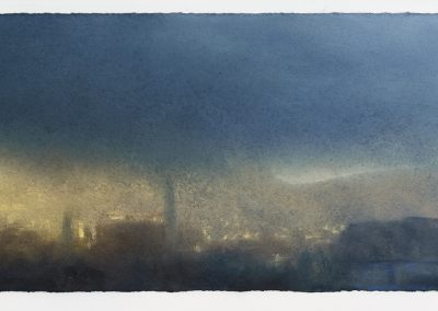 Morning Sun with a Heavy Shower, Kitchen Window Series No22, 24cm x 68.5cm, Pastel on Paper, 2016.