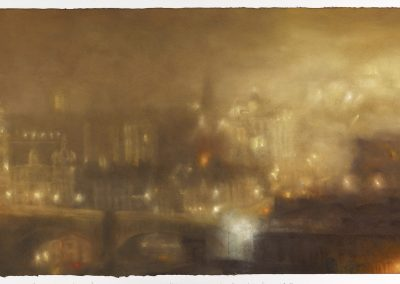 Nocturne with Poluted Light (PartII), 100cm x 166cm, Pastel on Paper, 2016.