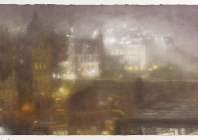 Nocturne with poluted Light (Part I), 66cm x 116.5cm, Pastel on Paper, 2016.