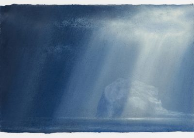 Passing Rays with an Illuminated Bass Rock, 27cm x 42cm, Pastel on Paper, 2016.