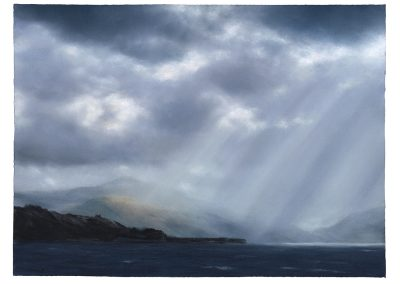 Roaming Crepuscular Rays, Series No 1, 79cm x 107.5 cm, Pastel on Paper, 2019.