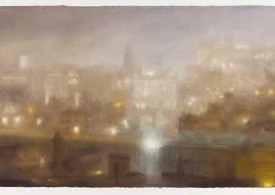 Shrouded, a View of Auld Reekie, 89.5cm x 165.5cm, Pastel on Paper, 2016.