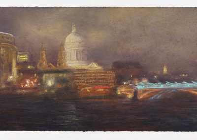 Disappear, a Night Time Scene with St Paul's, 23.5cm x 53.5cm, Pastel on Paper