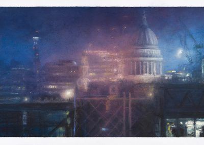 Dark Night, West From The Monument, 39.5cm x 68cm, Pastel on Paper.