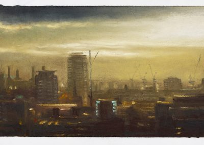 Battersea Powerstation at Dusk, A Distant View From The Monument, 26cm x 43.5cm, Pastel on Paper.