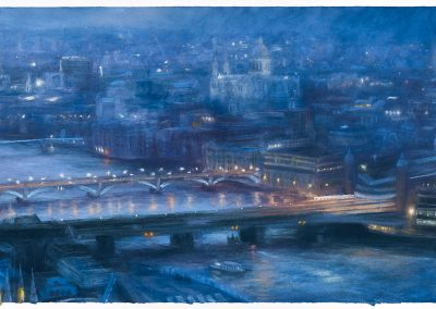 Nocturne with Rain West from the Shard, 88cm x133.5cm, Pastel on Paper.