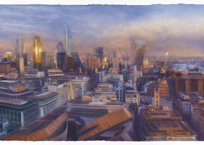 Reflective, A View from St Paul's 6.12.2014, 92cm x 158cm, Pastel on Paper.