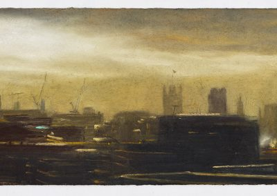 Westminster Dusk, a Distant View from the Monument, 26cm x 43.5cm, Pastel on Paper.