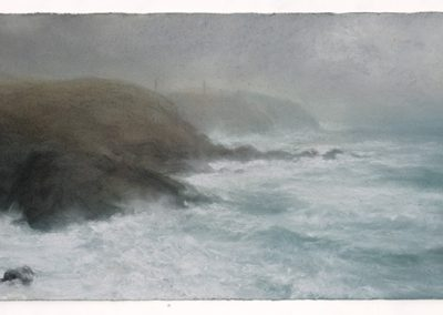 Raging sea, Pendeen, 33cm x 90cm, Pastel on Paper.