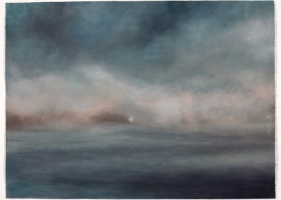 Sea mist, St Anthony Head Light House, 79cm x 107.5cm, Pastel on Paper.