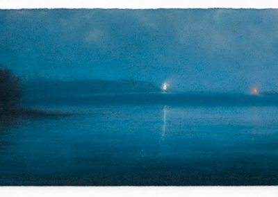 Still water, The Rosaland Peninsula, 18.5cm x 52cm, Pastel on Paper.